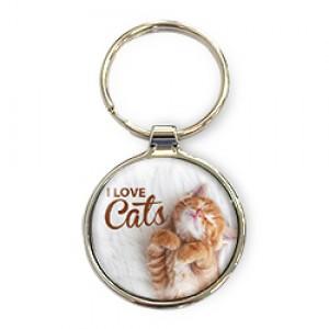 Luxe sleutelhanger als met I love cats cadeau