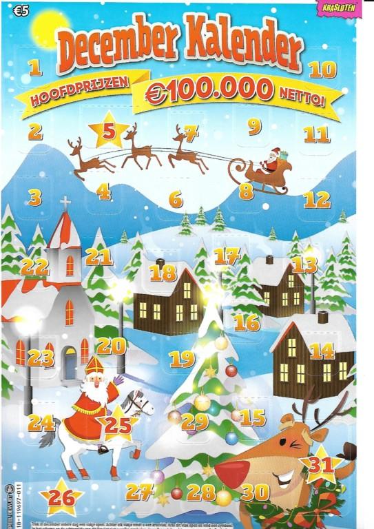 Decemberkalender € 5,- bij de Cornershop