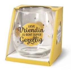 Glas met tekst vriendin