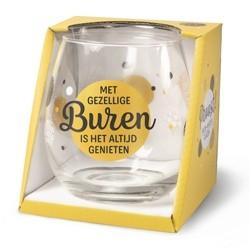 Wijnglas met tekst Buren