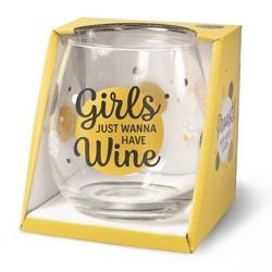 Wijnglas met tekst Girls
